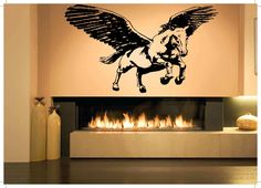 Beautiful Wall Room Decor Art Vinyl Sticker Mural Pegasus Horse Wings Boy Girl Bedroom Nursery Poster AS184