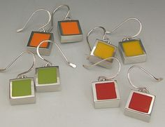 square-resin-earrings-pewter by kmsdesigns, via Flickr