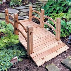 wooden garden bridge ... Would love to have one of the in my back yard