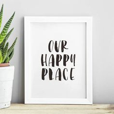 Our Happy Place black and white watercolor Typography Poster Wall Decor Motivational Print Inspirational Poster Home Decor Watercolor Typography, Typography Prints, Typography Poster, Quote Prints, Wall Art Prints, Framed Prints, Typography Quotes, Framed Quotes, Wall Quotes