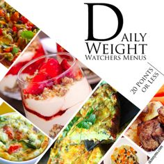 Daily Weight Watchers Menus with 20 Points or Less