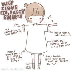 Why i love big, baggy shirts love fashion girly cute girl pretty girls drawing baggy baggy shirts