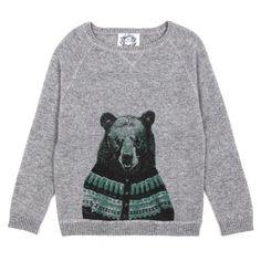 cool bear graphic crew neck sweatshirt
