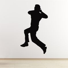Cricket Wall Sticker - Spin Bowler Cricketer - Boys Bedroom Sports Themed Decal: Amazon.co.uk: Kitchen & Home