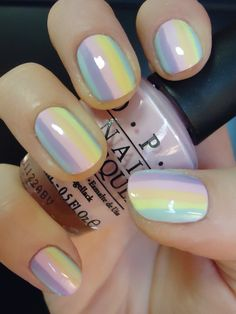 Looking for some cool nail polish ideas? Check out these 30 awesome manicure and get inspired! Nails Opi, Gradient Nails, Rainbow Nails, Opi Nail Polish, Manicures, Acrylic Nails, Nail Polishes, Rainbow Pastel, Ombre Nail