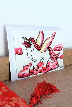 """Carte postale aquarelle licorne """"Pégase"""" Rouge : Cartes par milid"""