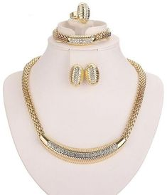Women Bridal Imitated Crystal Jewelry Sets For Wedding Party African Beads Dress Accessories Set Earrings Pendant Necklace Rings Ring Bracelet, Ring Necklace, Jewelry Bracelets, Pendant Necklace, Western Jewelry, African Beads, Wedding Jewelry Sets, Earring Set, 18k Gold