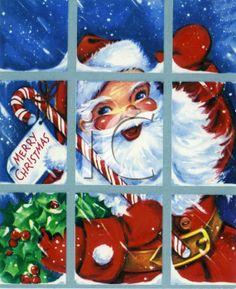 Santa looking through a window