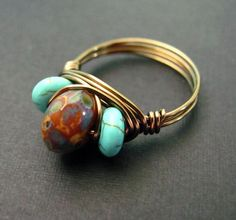 Wire Ring Brown and Turquoise Wire Wrapped by PolymerPlayin, $13.00