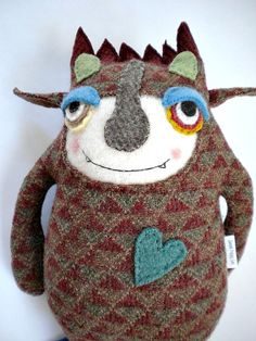 Monster Stuffed Animal Upcycled Funky Wool by sweetpoppycat - this guy is so cute!