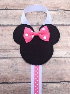 Mouse with a Pink Bow Hair Clip Holder, Pink Minnie Mouse Hair Bow Holder, Girls Hair Clip Organizer, Pink and Black Minnie Hair Clip Holder - Renee Evans - Diy Hair Bow Holder, Hair Bow Hanger, Barrette Holder, Bow Hair Clips, Bow Holders, Bow Clip, Hair Accessories Holder, Organizing Hair Accessories, Minnie Mouse Bow