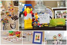 Lots of pictures of great ideas! Guess how many Legos in a jar. Lego pizza and cheese and crackers. Different cakes and ideas