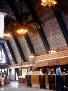 Coco Palms Resort Lobby : June 16, 1990  -- Hurricane Iniki hit in 1992 and the resort has been abandoned since.