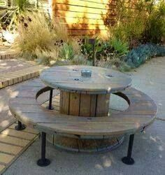 Neat spool table, this would look fantastic in a small urban garden...Found on homedit.com