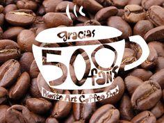 Imagen para celebrar los 500 fans en Facebook de Prioritè Art Coffee Shop.