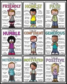 Classroom Expectations - Character Traits Posters by Kaitlynn Albani Teaching Social Skills, Social Emotional Learning, Teaching Kids, Kids Learning, Classroom Expectations, Classroom Behavior, Classroom Management, Behavior Management, School Classroom
