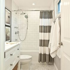 Get in line Our Stripe Shower Curtain keeps the bathroom looking