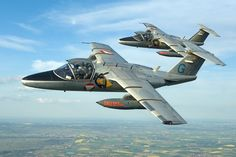 A pair of Austrian Air Force Saab 105s in flight.