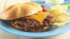 Chili seasoning mix and barbecue sauce quickly flavor beef chuck roast for a super slow-cooker creation.