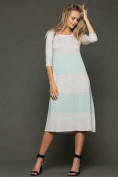 Just in 3/4 SLEEVE COLOR .... These will fly out the door! http://www.sassystorehouse.com/products/3-4-sleeve-color-block-midi-baby-doll-dress-preorder?utm_campaign=social_autopilot&utm_source=pin&utm_medium=pin