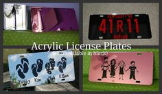 Acrylic Personalized License Plates  by lyricalletters on Etsy, $18.00