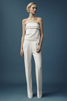 Mugler | Resort 2015 | 08 White strapless top and trousers