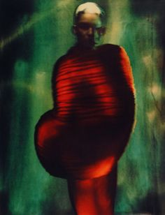 "photo de mode : Paolo Roversi, ""Sharon, Paris, 1996"", rouge-vert"