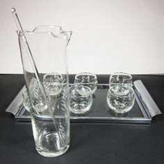 Vintage Javit Glass Set Bar 9 Piece Glasses Pitcher Tray Roly Poly Mid Century Engraved Etched Cut Glass Martini Rocks Cocktail