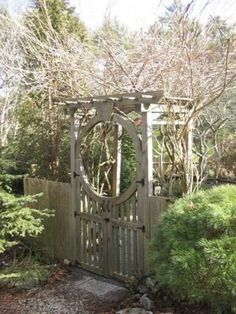 DIY Garden Gate & Arbor in picket fence- I can see beautiful pole beans growing all up it!