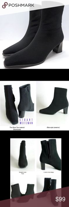 SW Gore-Tex All Weather Black Ankle Boots Booties Stuart Weitzman Gore-Tex All Weather/Water-Resistant Black Ankle Boots Bootie Size 7 Extra Narrow  Looks super sleek and slim! Pair perfect with a mini skirt, cuffed boy friend jeans, or leggings!   Please note, these boots are listed as EXTRA NARROW width. Please check all measurements below for correct fit!  GORE-TEX fabric upper Almond-shaped toe with center seam Side zip closure inside zipper closure with inside zipper liner Leather…