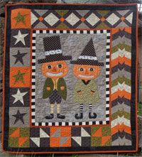 "Peter and Penelope Pumpkin Little Munchkins Pattern by Abbey Lane Quilts at KayeWood.com. 39"" x 45""Adorable small quilts that make great wall hangings or holiday throws. http://www.kayewood.com/item/Peter_and_PenelopePumpkin_Little_Munchkins_Pattern/3325 $14.50"