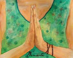 Yoga meditation namaste watercolor