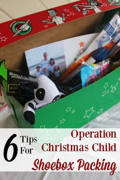 Check out these 6 Tips for Operation Christmas Child Shoebox Packing. What kind of box, what items and more.  All to help you send Joy this Christmas.