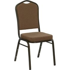 Flash Furniture NGC01COFFEEGVGG Hercules Series Crown Back Stacking Banquet  Chair With Coffee Fabric Gold Vein Frame