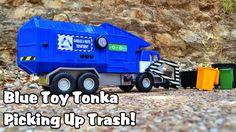 Blue Toy Tonka Garbage Truck Picking Up Trash l Garbage Trucks Rule l Fo...