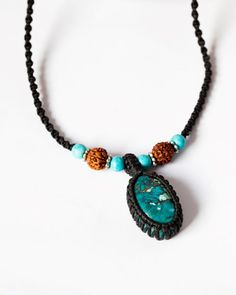 Turquoise macrame necklace Tibetan turquoise & by SPIRALICA