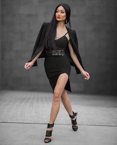 micah gianneli - Left leg come thru!!  Dress, blazer & heels from @hotmiamistyles