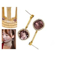 """Sparkling pink crystal golden rim earrings"" by oceanfashion on Polyvore"