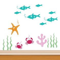 nautical and ocean decals for walls | Ocean Kids Wall Decals - Crab, Tuna Fish, Star Fish, Seaweed, Coral
