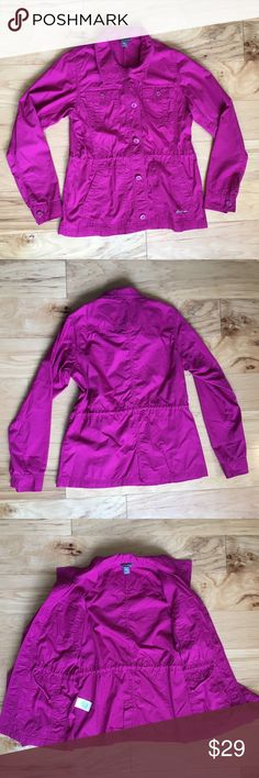 "Woman's Eddie Bauer pink/purple light coat size S Woman's Eddie Bauer pink/purple light coat  Size Small Measurements: underarm to underarm: 17"" ~ length 26""  ~ shoulder to end of sleeve 25"" Eddie Bauer Jackets & Coats Utility Jackets"