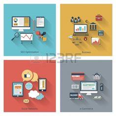Trendy Symbole im flachen Design mit langen Schatten für Web, mobile Anwendungen, SEO-Optimierungen, Wirtschaft, soziale Netzwerke, E-Commer...
