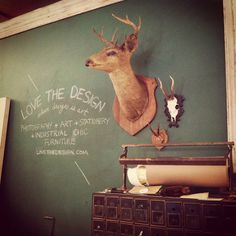 Taxidermy and green chalkboard and totally amazing store Blackboard Paint, Chalkboard Signs, Chalkboards, Chez Georges, Amazing Store, Deer Mounts, Trophy Rooms, Faux Taxidermy, Oh Deer