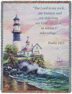 Personalized Lighthouse Picture Inspirational Tapestry Throw