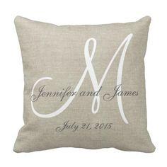 Beige Linen Gray White Monogram Wedding Keepsake Throw Pillow