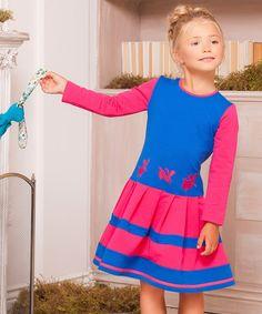 Look at this #zulilyfind! Blue & Pink Bunny A-Line Dress - Toddler & Girls #zulilyfinds