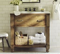 lovely rustic console sink from Pottery Barn                                                                                                                                                                                 More