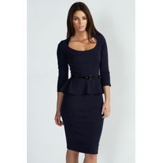 Elegant Boat Neck Three Quarter Dark Blue Polyester Sheath Mini Dress_Dresses_Womens Clothing_Cheap Clothes,Cheap Shoes Online,Wholesale Shoes,Clothing On lovelywholesale.com - LovelyWholesale.com