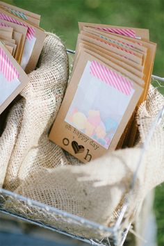 Wedding programs with a confetti bag attached are extra fun!