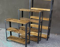 Reclaimed Wood Bookcase, Wood Bookshelves, Industrial Bookshelf, Reclaimed Lumber, Book Shelves, Steel Shelving, Piece A Vivre, Diy Wood Projects, Wood And Metal