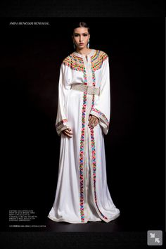 White with coulours, Kabyle style (ish).  From l'officiel maroc caftan edition jan 2013?